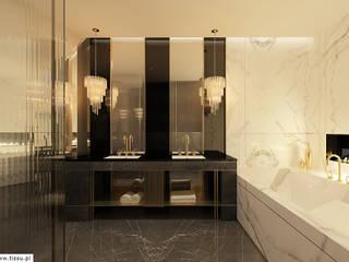 Projekt wnętrza w apartamancie z widokiem na panoramę Warszawy Eklektyczna łazienka od TISSU Architecture Eklektyczny
