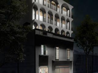 Fachada Noche: Condominios de estilo  por RA!