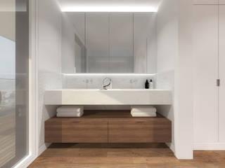 Instalação sanitária da suite principal Banheiros modernos por Estúdio AMATAM Moderno Azulejo