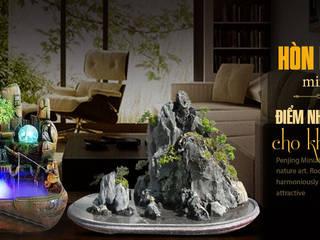 Asian style study/office by Công Ty Thi Công Và Thiết Kế Tiểu Cảnh Non Bộ Asian