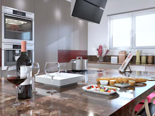 Burgundy Gloss Kitchen:  Built-in kitchens by Linken Designs ,