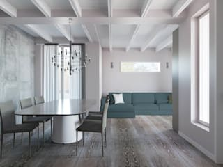 Interior design trilocale: Sala da pranzo in stile  di ALMA Architettura | Mario Pan | Alessandro Pezzotti
