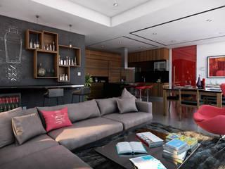 Area social abierta: Salas de estilo moderno por Stuen Arquitectos