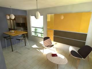 Ampliación de espacio en casa de interés social:  de estilo  por Emún Arquitectura Asequible