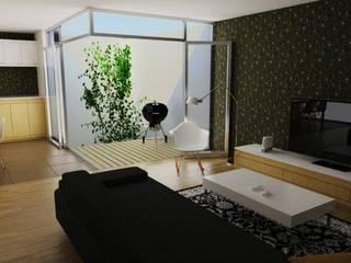Departamento con terraza abatible:  de estilo  por Emún Arquitectura Asequible