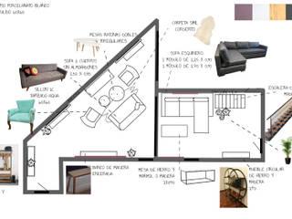 Disposición living - hall:  de estilo  por Mica Chapado