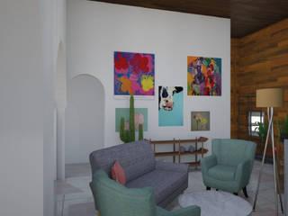 Living - Render 3d: Livings de estilo ecléctico por Mica Chapado