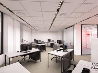 Zona de trabajo del equipo dividida en 8 puestos de trabajo: Estudios y despachos de estilo minimalista de Pacheco & Asociados