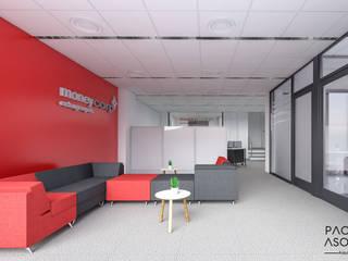 Sala de espera y entrada de las oficinas de Moneycorp: Estudios y despachos de estilo minimalista de Pacheco & Asociados