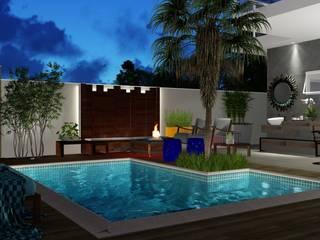 Um canto para sonhar: Piscinas de jardim  por Trivisio Consultoria e Projetos em 3D