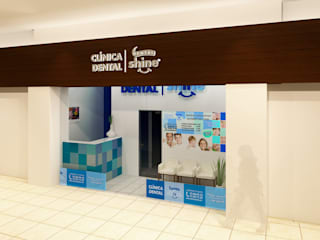 "Fachada al centro comercial ""Bugambilia Plaza"": Centros Comerciales de estilo  por Arq. Máximo Alvarado Bravo"