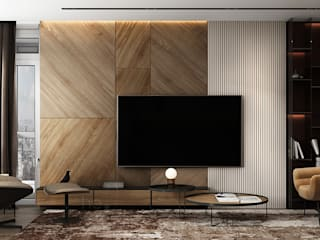 he.d group Minimalist living room Wood Beige