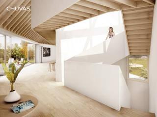 Casas Geminadas: Escadas  por CHUVAS arquitectura,Moderno