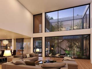 CASA SG2 - Moradia na Herdade da Aroeira - Projeto de Arquitetura - sala: Salas de estar  por Traçado Regulador. Lda,Moderno Madeira Acabamento em madeira