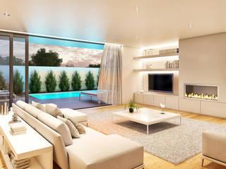 CASA HC1 - Moradia no Estoril - Projeto de Arquitetura - sala piscina Salas de estar modernas por Traçado Regulador. Lda Moderno Madeira Acabamento em madeira