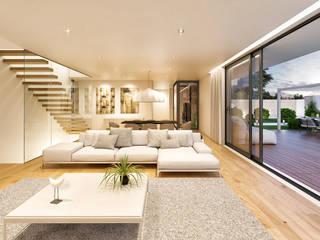 CASA HC1 - Moradia no Estoril - Projeto de Arquitetura - sala Salas de estar modernas por Traçado Regulador. Lda Moderno Madeira Acabamento em madeira