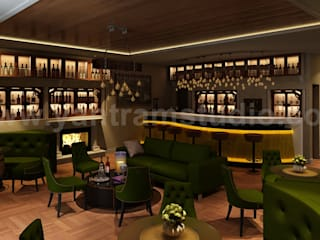 Bar & Restaurant interior design by Yantram 3D Interior Rendering Services - London, UK Modern Yemek Odası Yantram Architectural Design Studio Modern