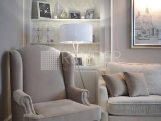 Квартира для молодой семьи в американском стиле: Гостиная в . Автор – RENDER
