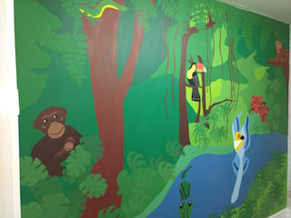 Bespoke Handpainted Mural Tropical style bedroom by Polly Millard, Interior Decorater Tropical