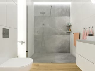 Prysznic z kabiną typu walk in. Łazienka 2 - Creatovnia: styl , w kategorii Łazienka zaprojektowany przez Creatovnia