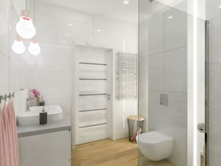 Łazienka w naturalnych odcieniach Nowoczesna łazienka od Creatovnia Nowoczesny