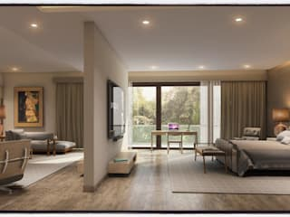 living room and bedroom partition:   by Innoire Design