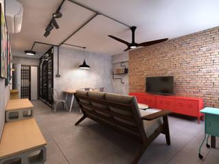 Living Room Ruang Keluarga Gaya Industrial Oleh March Atelier Industrial