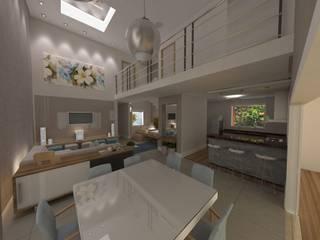 Projeto Residencial  K&I: Salas de jantar  por Karina Christofaro Arquiteta,Moderno