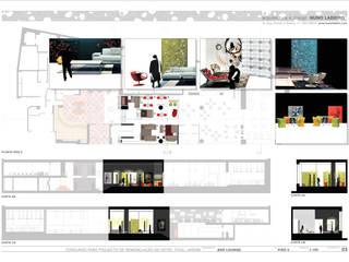 Espaço Lounge_Projeto dos interiores para hotel:   por Nuno Ladeiro, Arquitetura e Design
