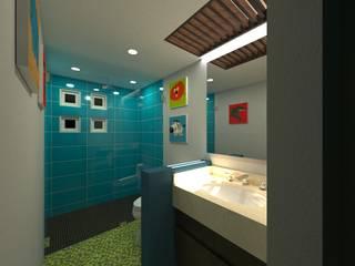 Renovacion Casa Habitacion Aviara Santa Fe OLOR A NUEVO Baños modernos Cerámico Azul