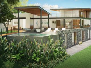 Fachada Jardin / Alberca: Casas unifamiliares de estilo  por DELTA