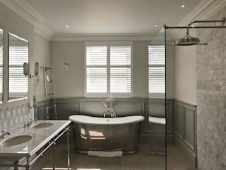 Victorian Tradition With a Modern Glow in a Tooting Home Plantation Shutters Ltd Kamar Mandi Klasik Kayu White