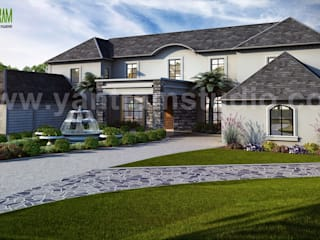 Exterior house design ideas by Yantram architectural rendering studio Modern houses by Yantram Architectural Design Studio Modern