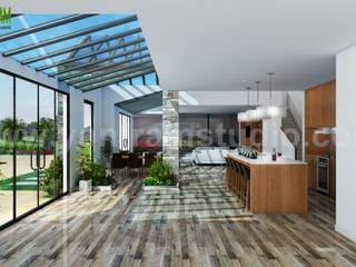 Best Residential Interior & Exterior House Design by Yantram 3D Interior Designers - Atlanta, USA Modern Oturma Odası Yantram Architectural Design Studio Modern