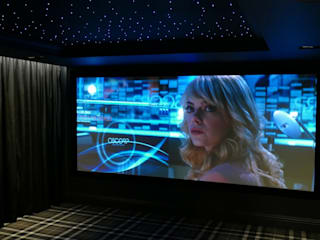 Dedicated Cinemascope 4K Cinema Room with Dolby Atmos sound system HiFi Cinema Ltd. Modern media room