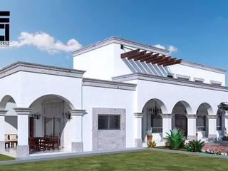 PERSPECTIVA DE FACHADA LATERAL JRB: Casas de campo de estilo  por Francisco Cruz & Arquitectos