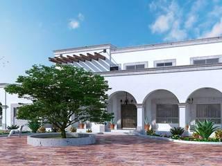 PERSPECTIVA DE FACHADA FRONTAL JRB: Casas de campo de estilo  por Francisco Cruz & Arquitectos