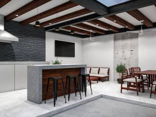 ÁREA DE ASADOR /SALA/ COMEDOR: Terrazas de estilo  por Francisco Cruz & Arquitectos