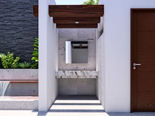 LAVABO EXTERIOR: Baños de estilo  por Francisco Cruz & Arquitectos