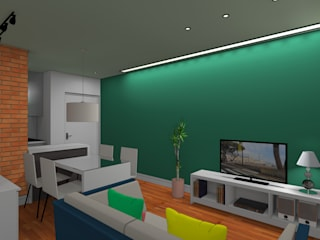 Apartamento - Fortaleza/CE: Salas de estar  por Paes de Andrade Arquitetura,Rústico