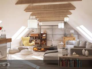 Poddasze dla podróżników: styl , w kategorii Salon zaprojektowany przez INTUS DeSiGn
