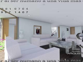 Interiores de casa habitación en imágenes renders: Salas de estilo minimalista por RIANSLARQUITECTOS