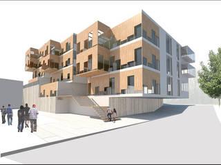 Construcción de vivienda multifamiliar en Arenys de Mar, Edificaciones de arquitectura residencial de projectelab Moderno