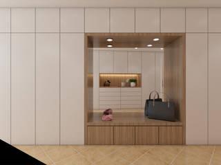 DR Arquitectos Minimalist corridor, hallway & stairs