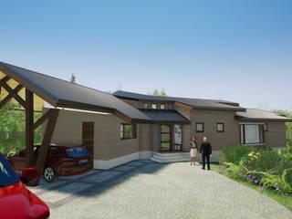 Vista Acceso Sur Poniente: Chalets de estilo  por Nomade Arquitectura y Construcción spa