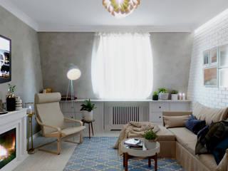 Квартира в мансардном этаже: Гостиная в . Автор – Архитектурное бюро 'Белый город'