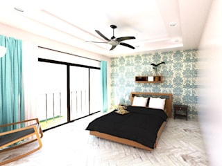 A4AC Architects Modern style bedroom Wood Multicolored