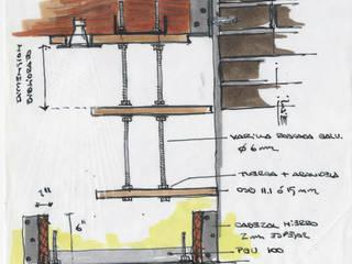 Diseño estantes colgantes de OSB:  de estilo  por estudioZBR & asociados