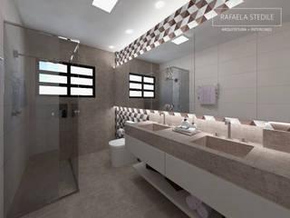 Banheiro Social Apto. 24: Banheiros  por Rafaela Stedile Arquitetura + Interiores,Moderno