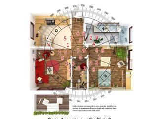 Exemplo casa frente Noroeste 315º - Energia Ciclica:   por FENG SHUI PORTUGAL de Cláudia Machado de Castro